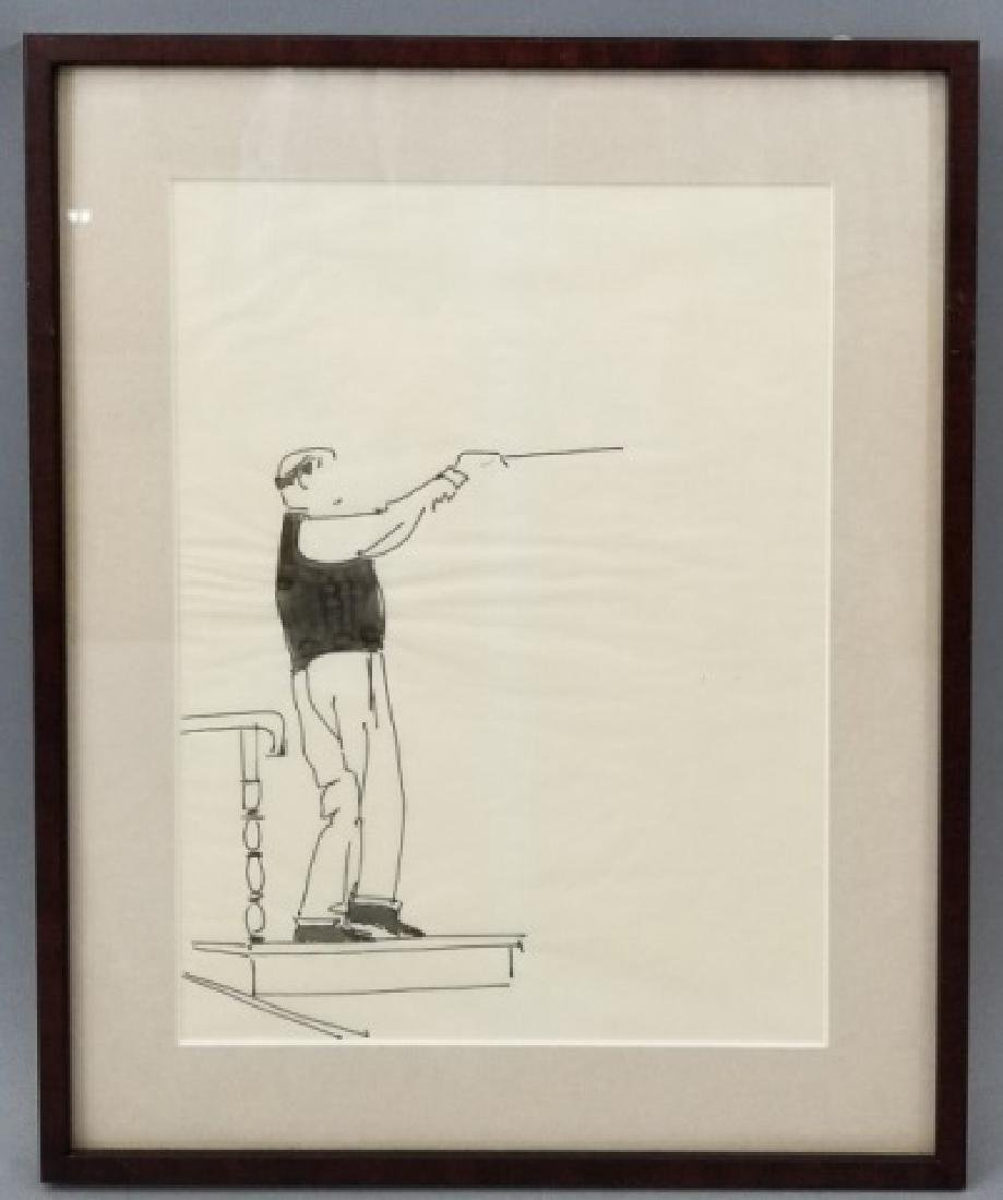 Graphic Ink Drawing of Conductor at Podium w Baton