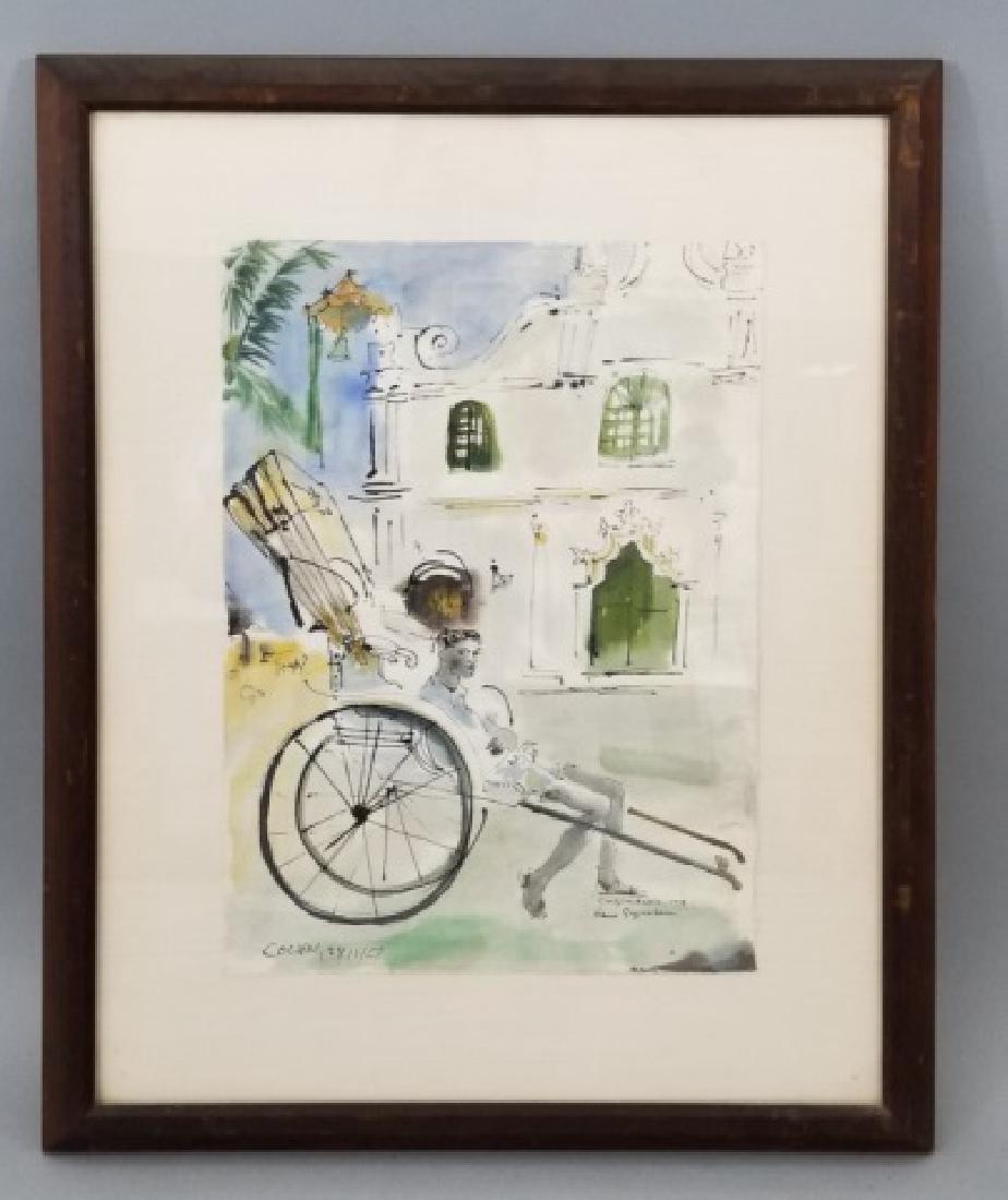 Hans Guggenheim (born 1924) Watercolor of Rickshaw