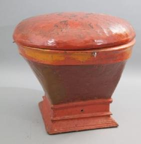 Chinese Lidded Red Round Basket On Square Base