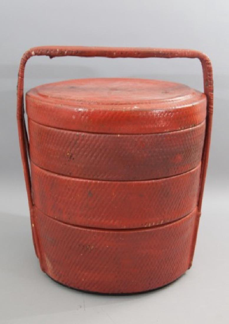 Chinese 3-Tiered Red Lunch Baskets with Handle