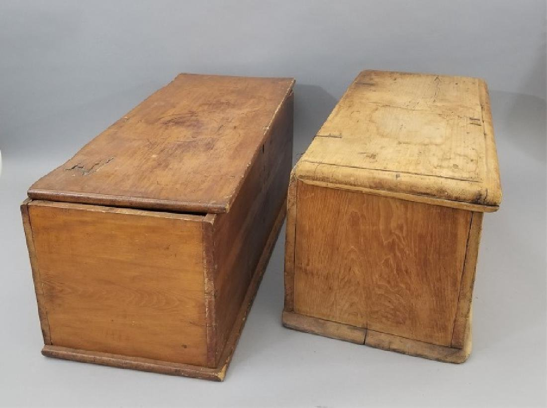 Two Antique 19th C Carved Wood Trunks / Chests