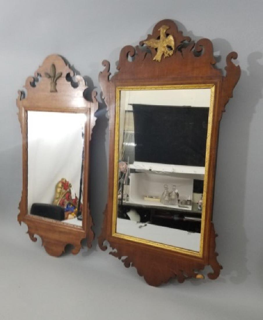 Two Antique Queen Anne Style Carved Wall Mirrors