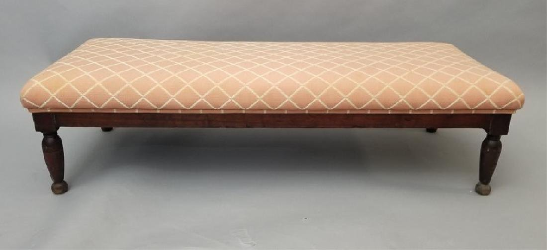 Rose & Cream Patterned Upholstered Low Bench
