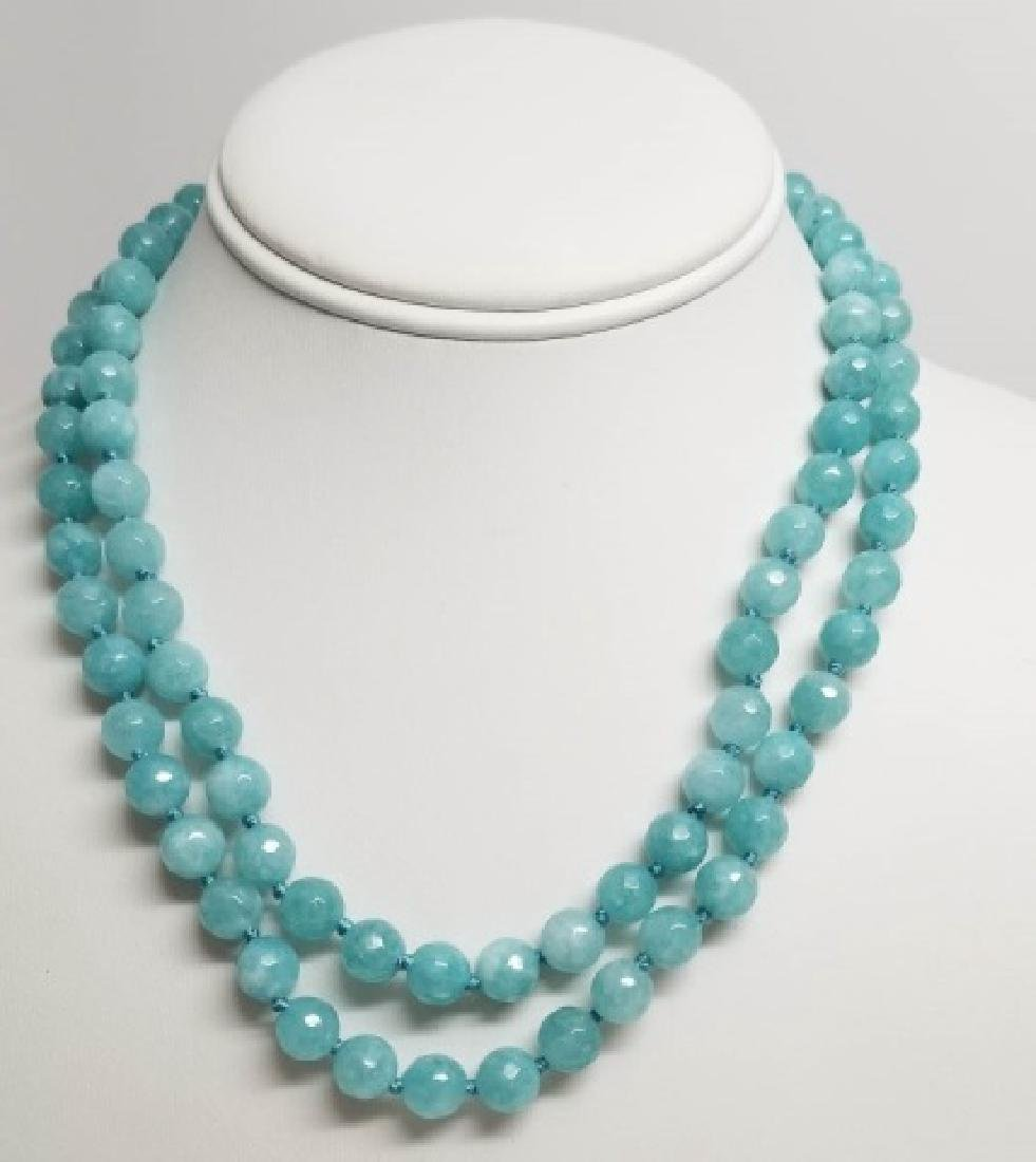 Pair Faceted Blue Crystal Hand Knotted Necklaces