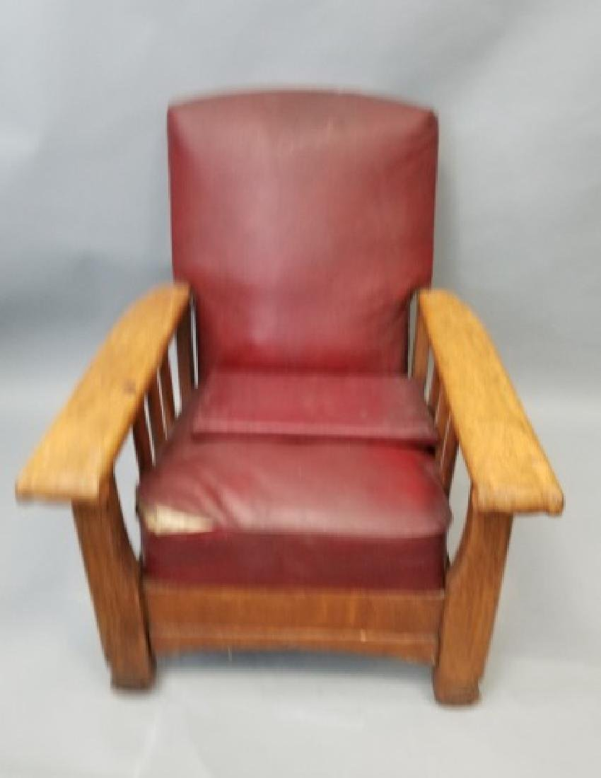 Antique Mission Style Oak Recliner /  Armchair