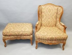 Carved French Rococo Style Armchair & Ottoman