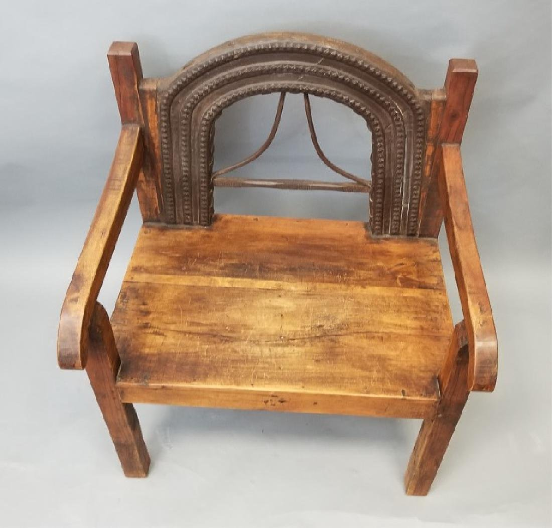 Antique Wood Indonesian / Asian Throne Armchair