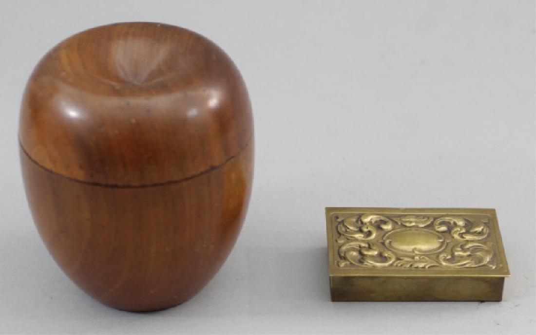 Antique Georgian Style Apple Tea Caddy & Match Box