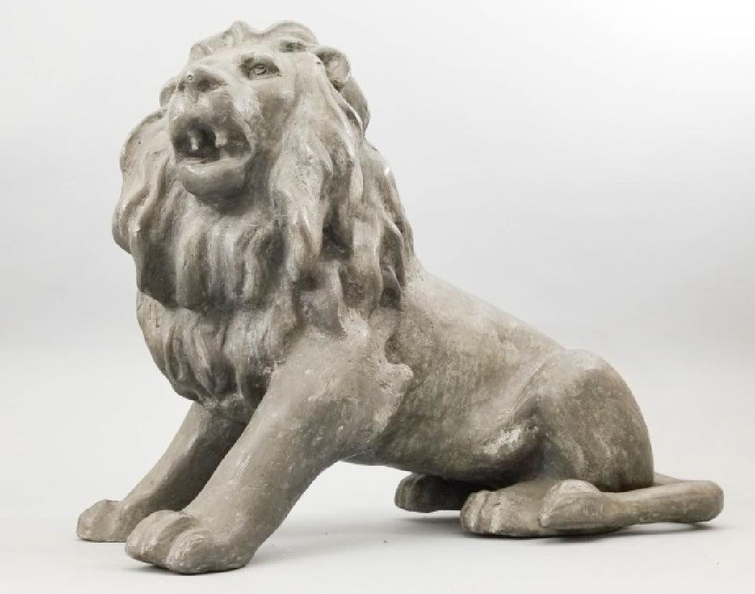 Vintage Cast Seated Iron Lion Statue