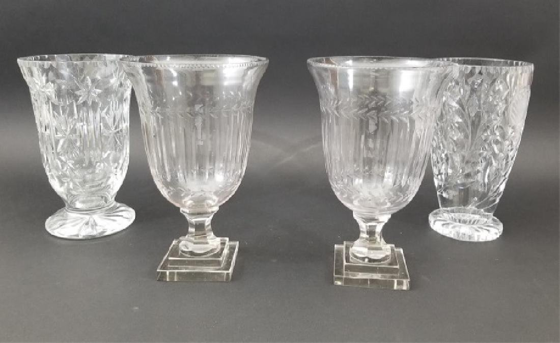 4 Cut Glass Footed Pieces, Including 1 Pair