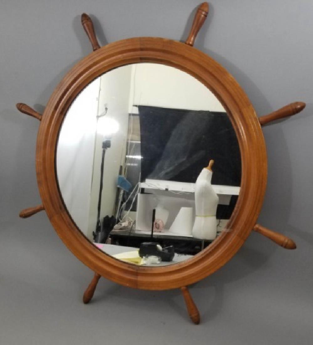 Vintage Carved Wood Ship's Wheel Mirror