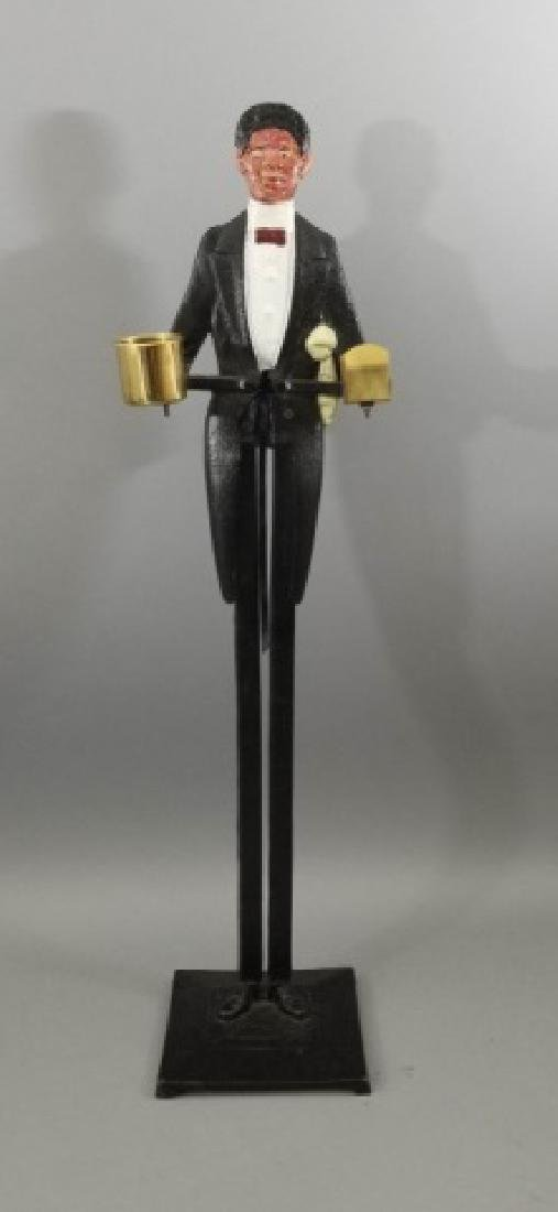 Painted Metal Butler Figure Standing Ashtray
