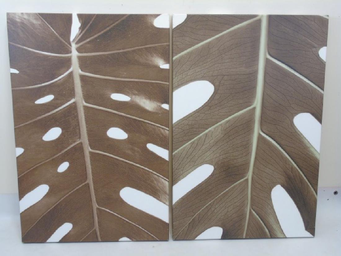Pair Contemporary Modern Leaf Prints on Ca