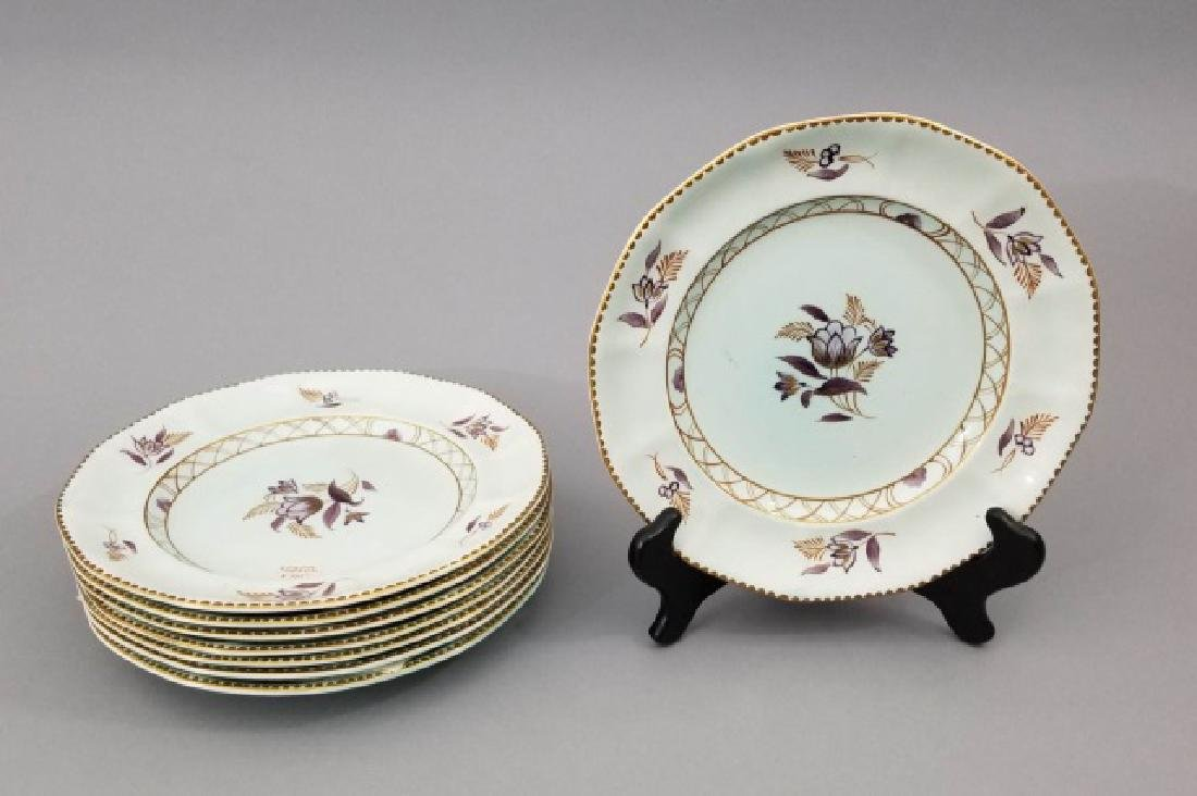 8 Floral Hand Painted English Adams Lunch Plates