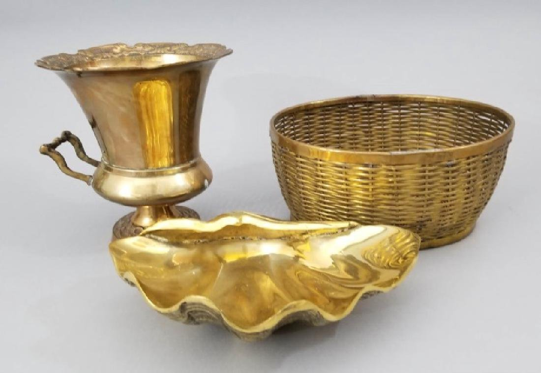 3 Vintage Brass Items Basket, Urn, & Clam Shell