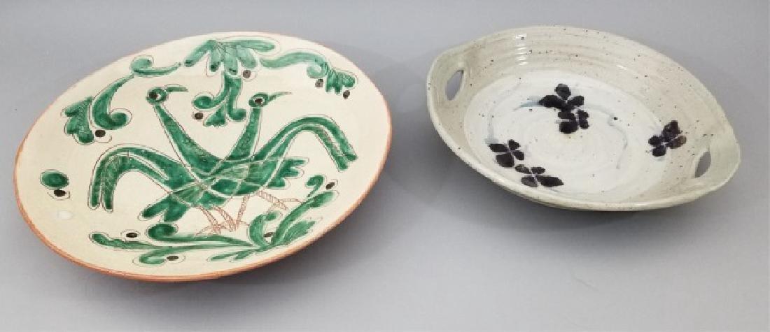Two Large Glazed Ceramic Platters