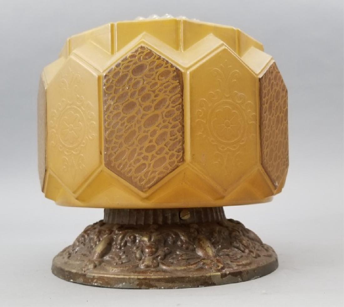 Antique Art Deco Honey & Clear Glass Lamp