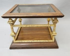 Contemporary End Table Gold Painted Wood & Glass