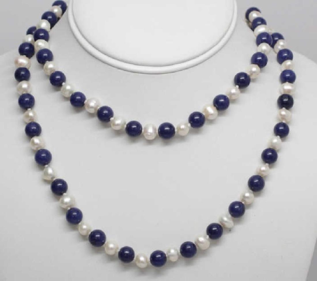 Pair Lapis Lazuli & Baroque Style Pearl Necklaces