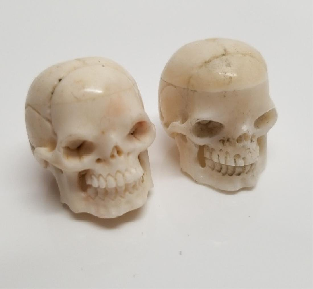 Pair Carved Detail Memento Mori Skull Pendants