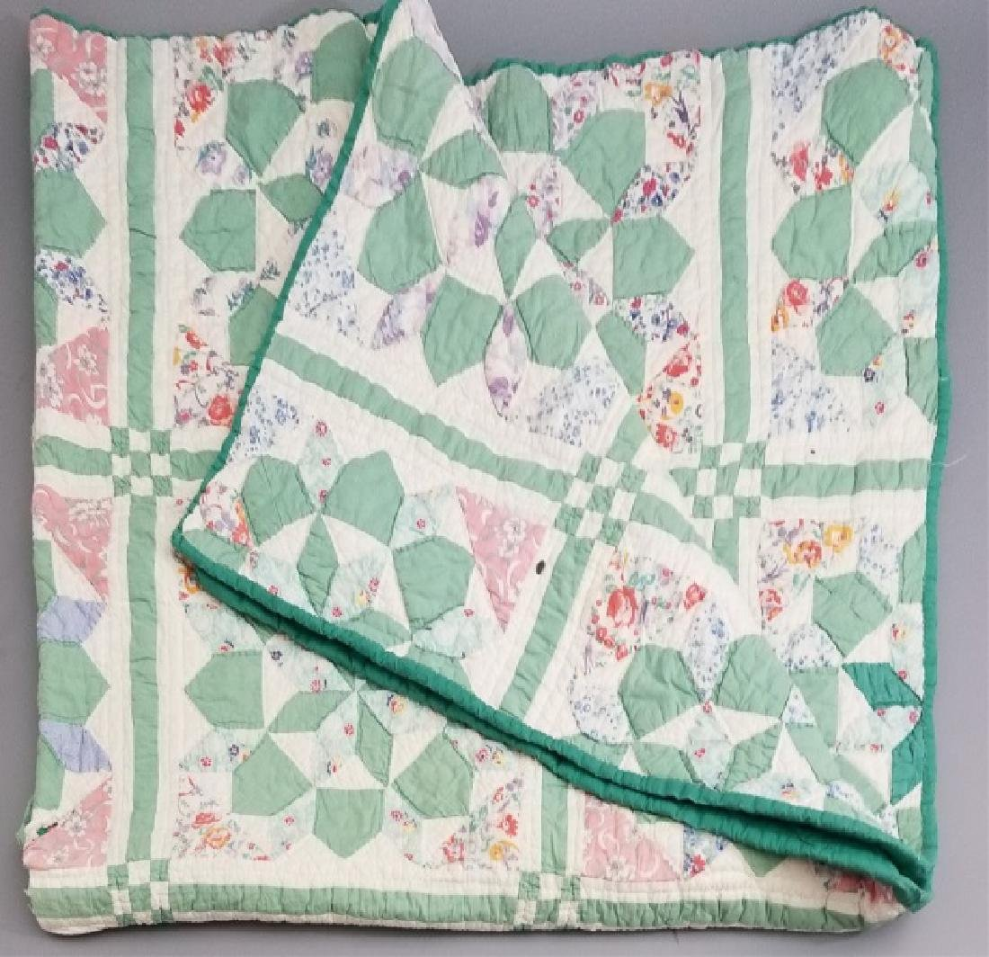 Antique American Hand Sewn Patchwork Quilt 3 of 3