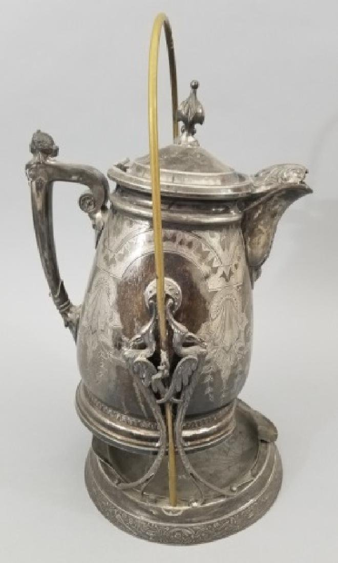 Antique 19th C Victorian Silverplate Water Pitcher