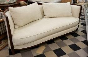 Bloomingdale's Contemporary Curved Wood Couch