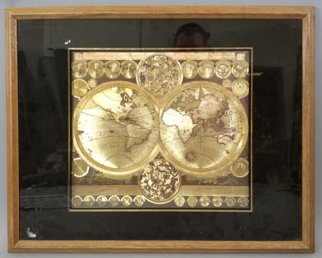 Vintage Metallic Paper Peter Shenk Map of World