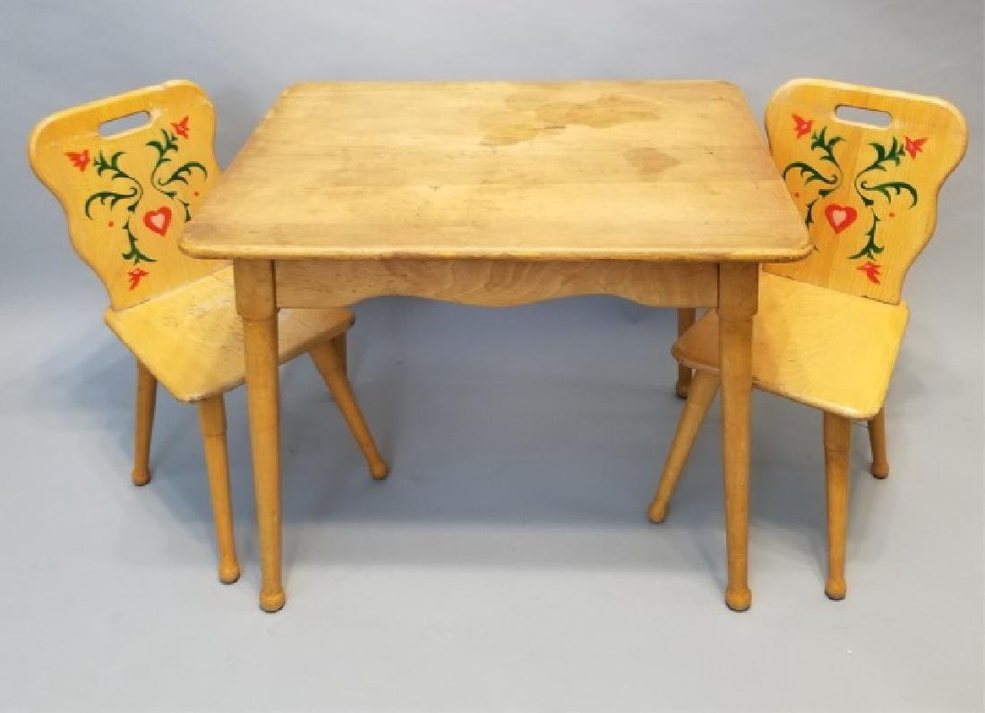 Wooden Childrens' Table & Pair of Chairs