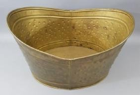 Dimpled Brass Firewood Holder Fireplace Container