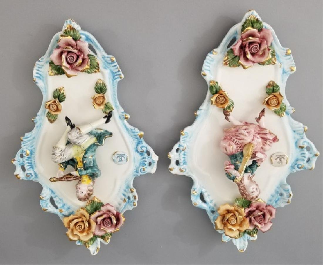 Capodimonte-Style Pair of Musician Wall-Hangings