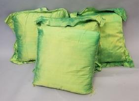 4 Chartreuse Textured Silk Pillows