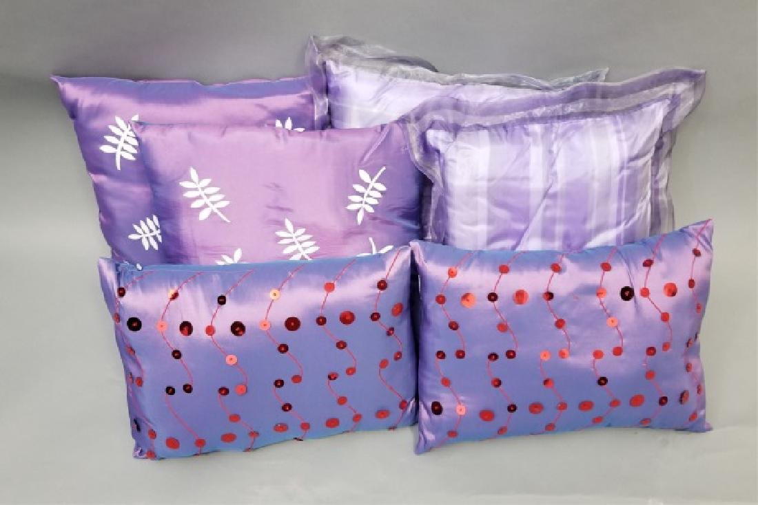 3 Pairs of Ornamental Lavender Pillows
