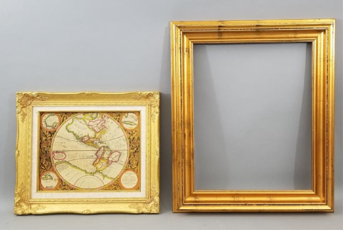 2 Gold Painted Picture Frames including 1 with Map
