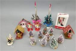 Group of Vintage Christmas Decorations  Trees