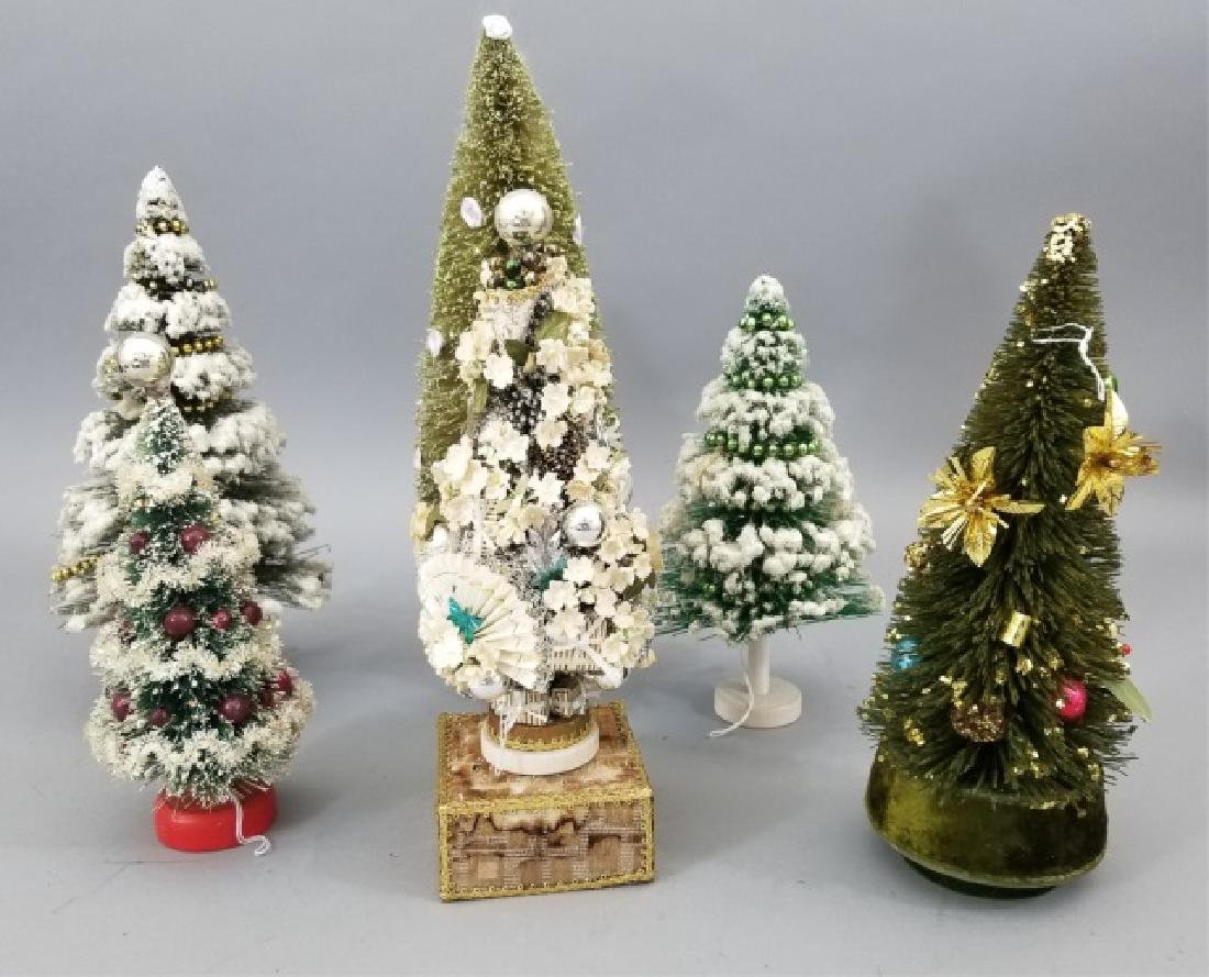 Six Vintage Christmas Trees Including Music Boxes