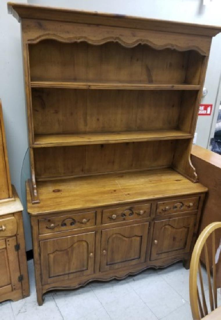 French Country Provencal Distressed Hutch Cupboard