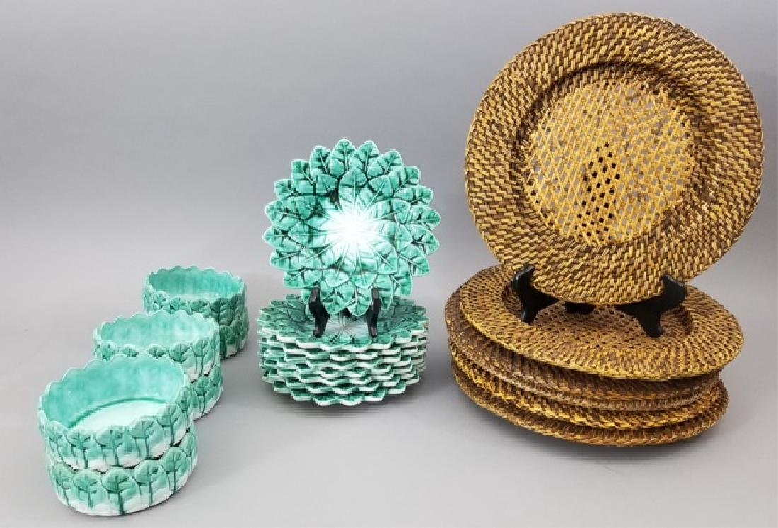 Green Ceramic Plates & Bowls and Wicker Chargers