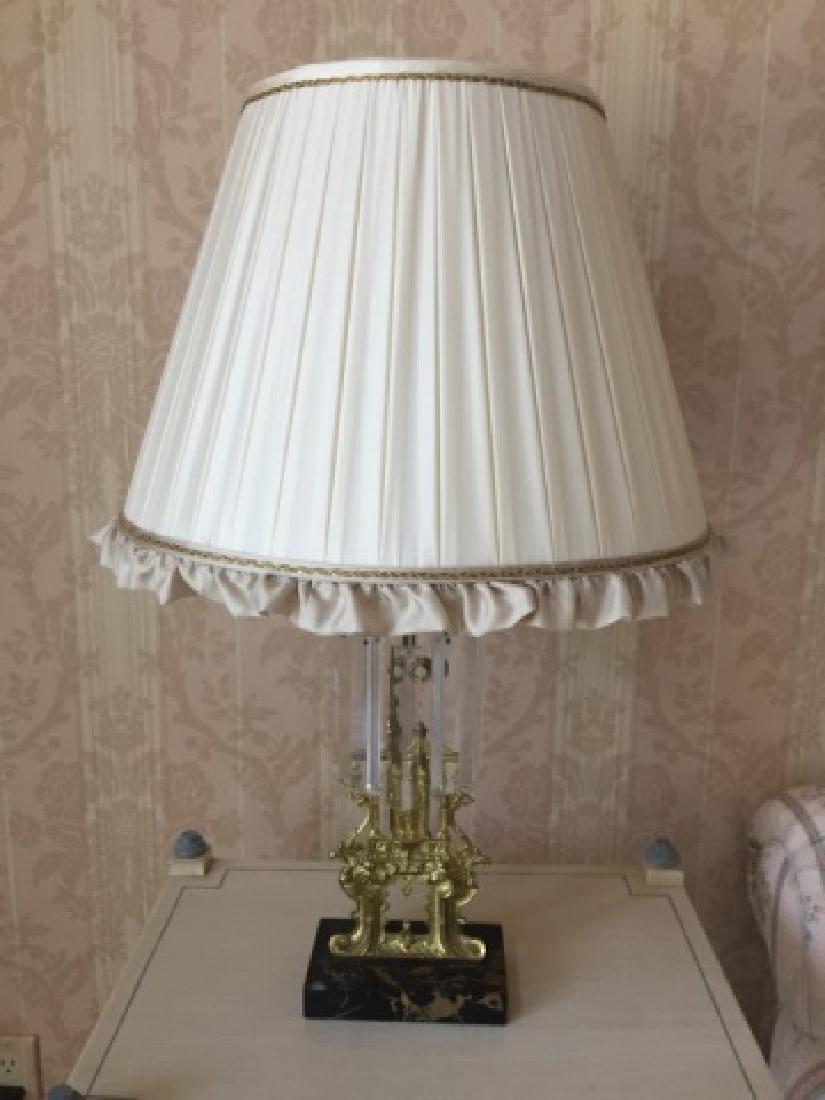 Antique Ormolu & Crystal Lamp w Ruffle Silk Shade