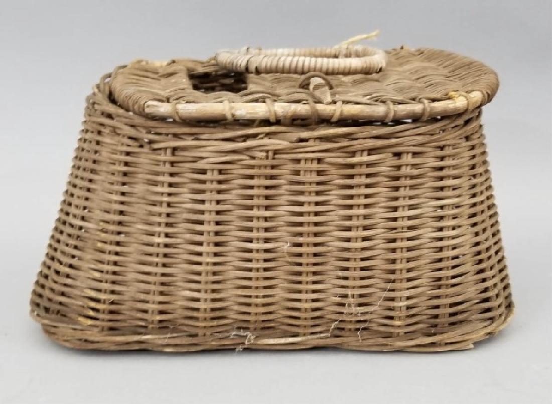 Antique Handmade Wicker Fishing Basket Creel