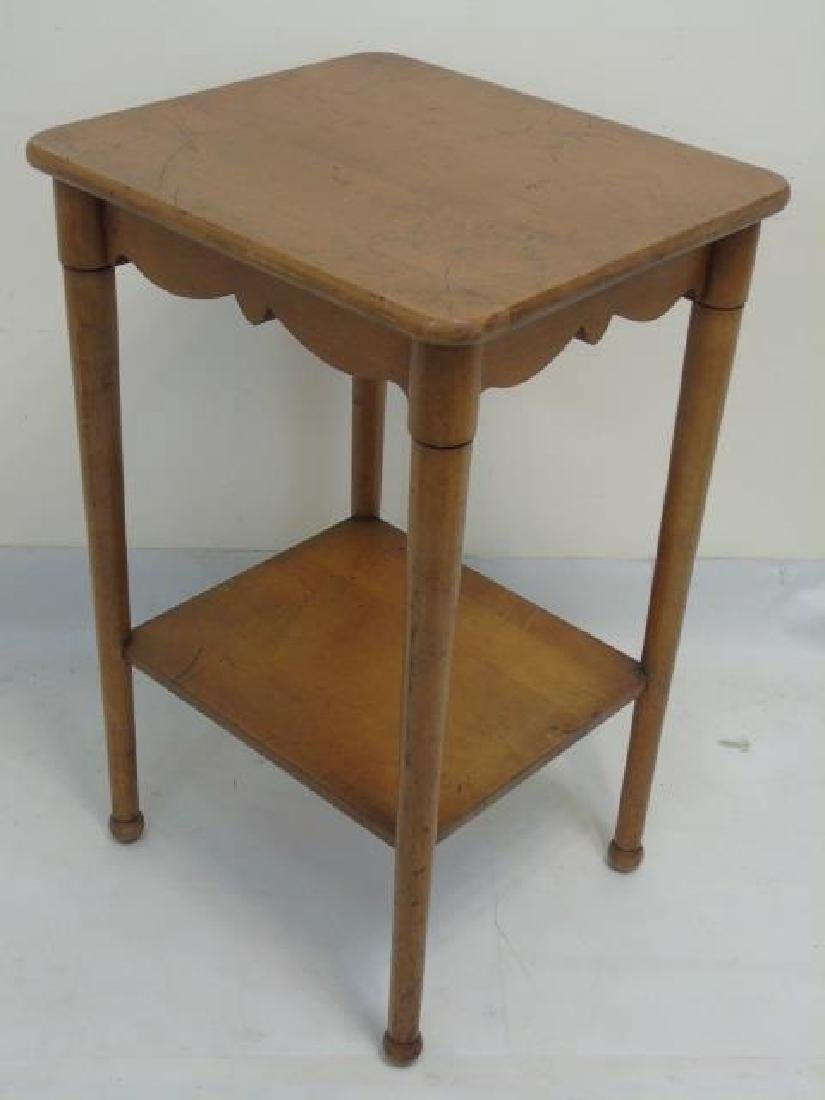 Vintage Maple Bedside Table w Carved Apron