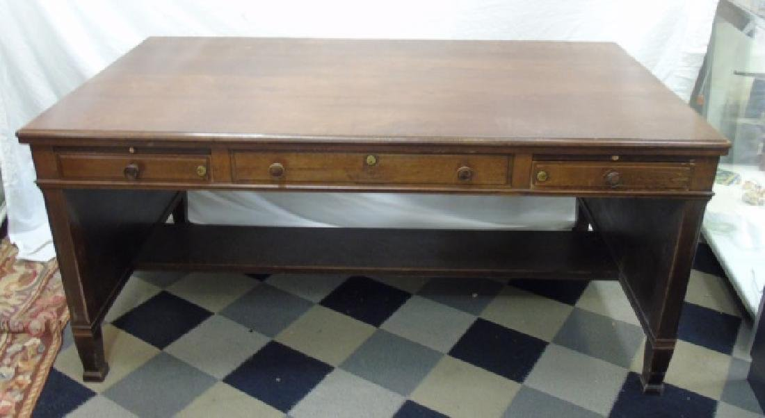 Antique Early 20th C Large Scale Executive's Desk