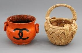 2 Cachepots - Orange With Chanel Logo & Basket