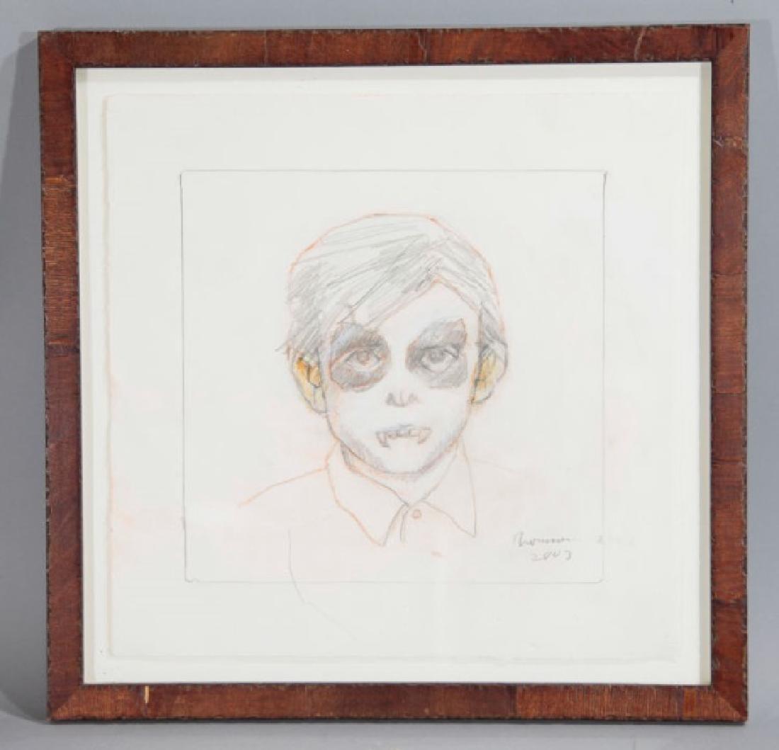 Framed, Signed & Dated Pencil Sketch of Vampire