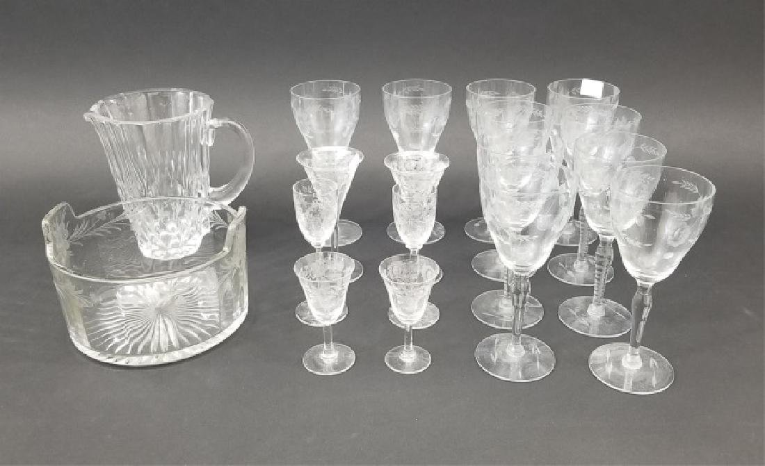 Collection of Vintage Etched Glasses & Ice Bucket