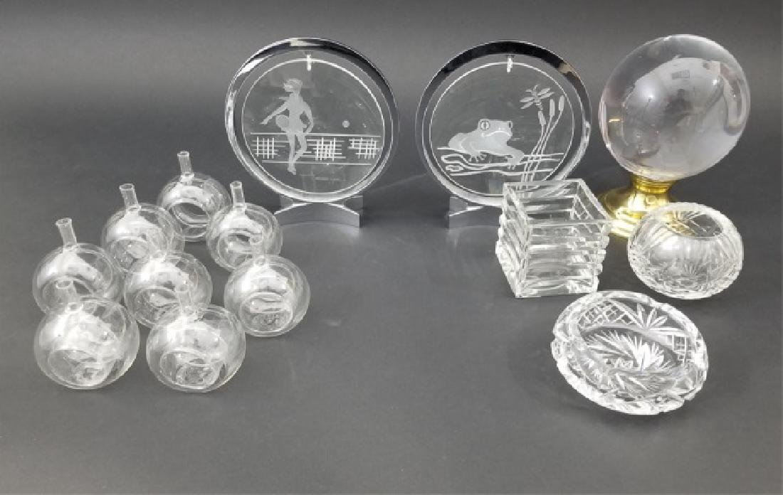 Assortment of Cut Glass Items Incl 8 Mini-Vases
