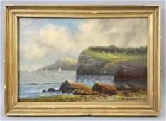 19th C Thomas Birch Coastal Scene Oil on Linen