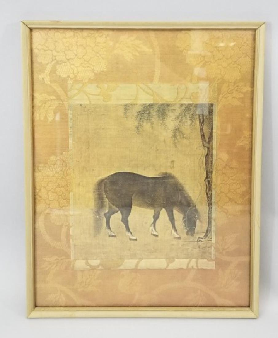 Chinese Print of Horse Watercolor on Silk Brocade