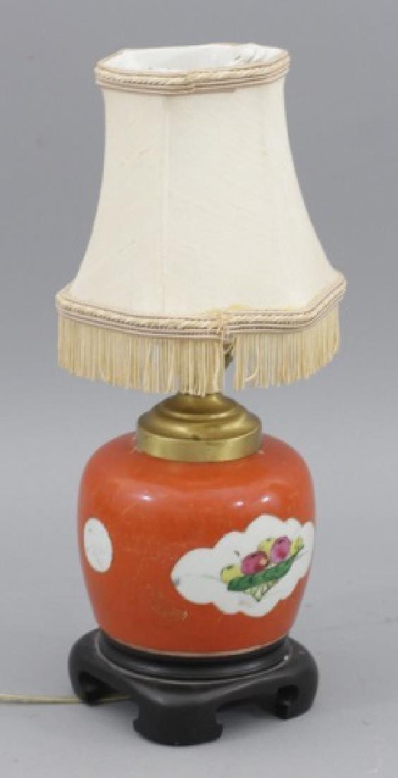 Small Chinese Vintage Orange Porcelain Lamp