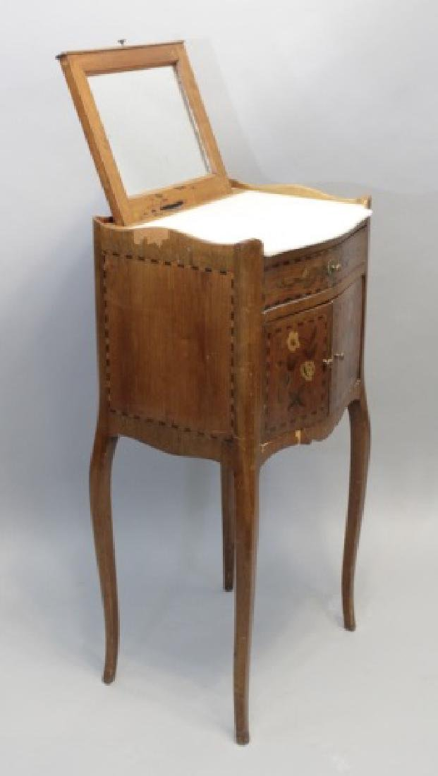 Antique Marble-Top Wood Cabinet Shaving Stand